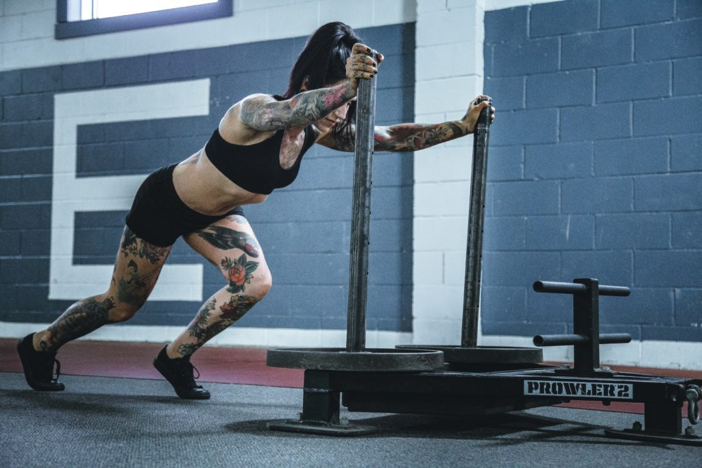girl pushing prowler